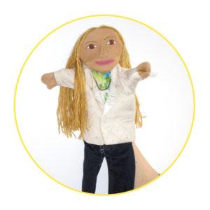 Bespoke Likeness Puppet woman in white shirt