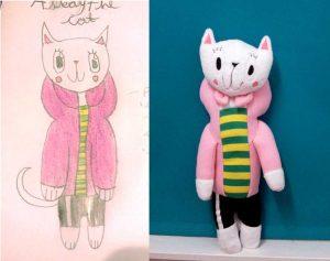 Custom children's drawing puppet pink cat