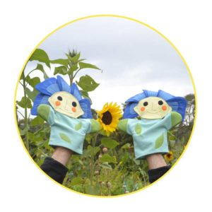 Picture to Puppet Gallery flax flowers and sunflower