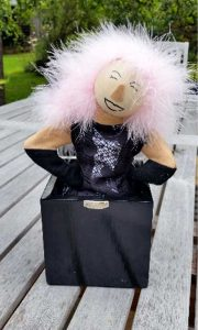 Custom jack in the box of lady with pink hair