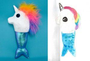 Custom children's drawing puppet unicorn mermaid