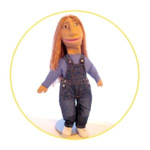 Bespoke Likeness Puppet woman in dungarees