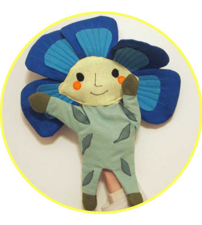 Glove puppet flax flower