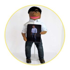 Bespoke Likeness Puppet man in white shirt