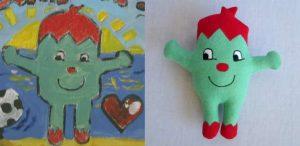 Custom children's drawing puppet green monster