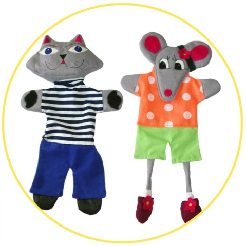 Glove puppets cat and mouse