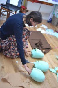 Custom hand puppets Mari and three foam heads