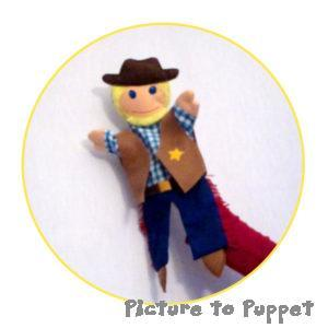 Cowboy glove puppet made for a wholesale puppet order