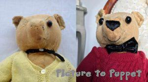 Before and after of antique bear restoration