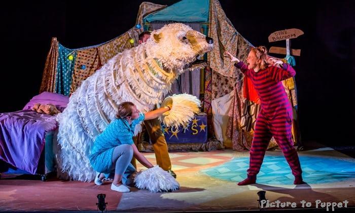 The bear Puppet I repaired for the Edinburgh Fringe