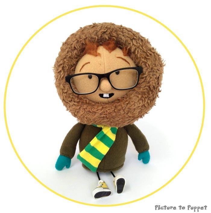 Custom Soft Toy wearing a furry hood