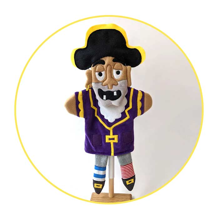 Custom Glove Puppet Pirate wearing a purple jacket and a black hat