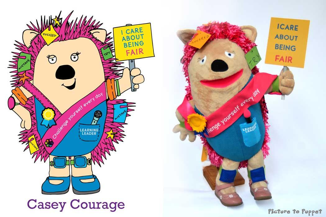 Values Puppet - Casey Courage the hedgehog