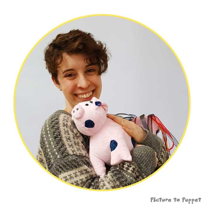 Emma Forrest and a cuddly pig
