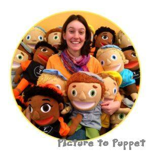 Mari Jones, Picture to Puppet, surrounded by puppets