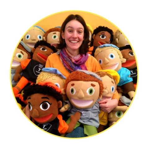 Mari Jones with lots of puppets