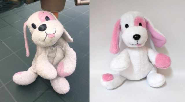 A pink dog which has been lost and recreated