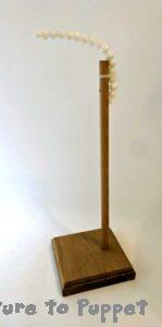 Fixed height wooden hand puppet stand with flexible top
