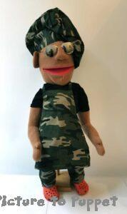 Puppet on a Stand in an Army Chef uniform