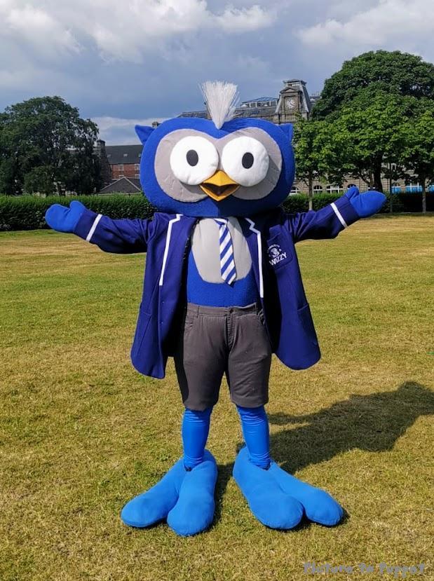 Custom Mascot Costume - A giant blue owl