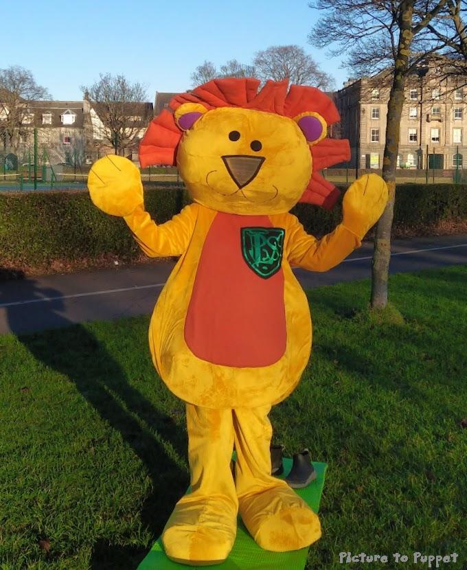 Custom Mascot Costume - Yellow Lion with an Orange Tummy and Mane